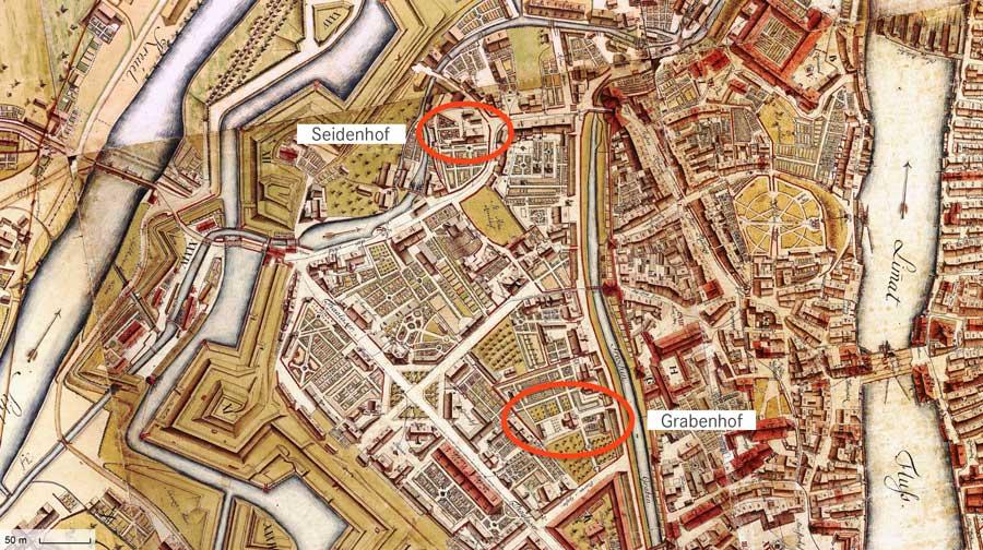 1793_Stadtplan_Zuerich_1793_markiert