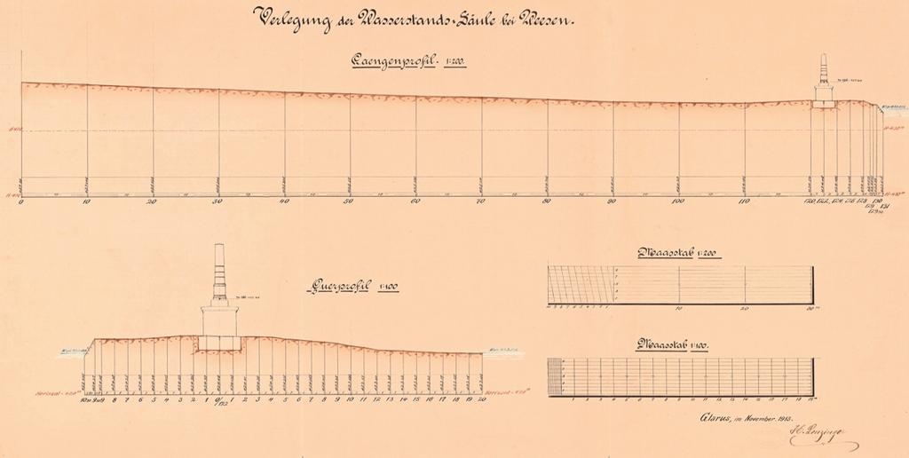 1913_Wasserstandssaeule_Weesen_1913