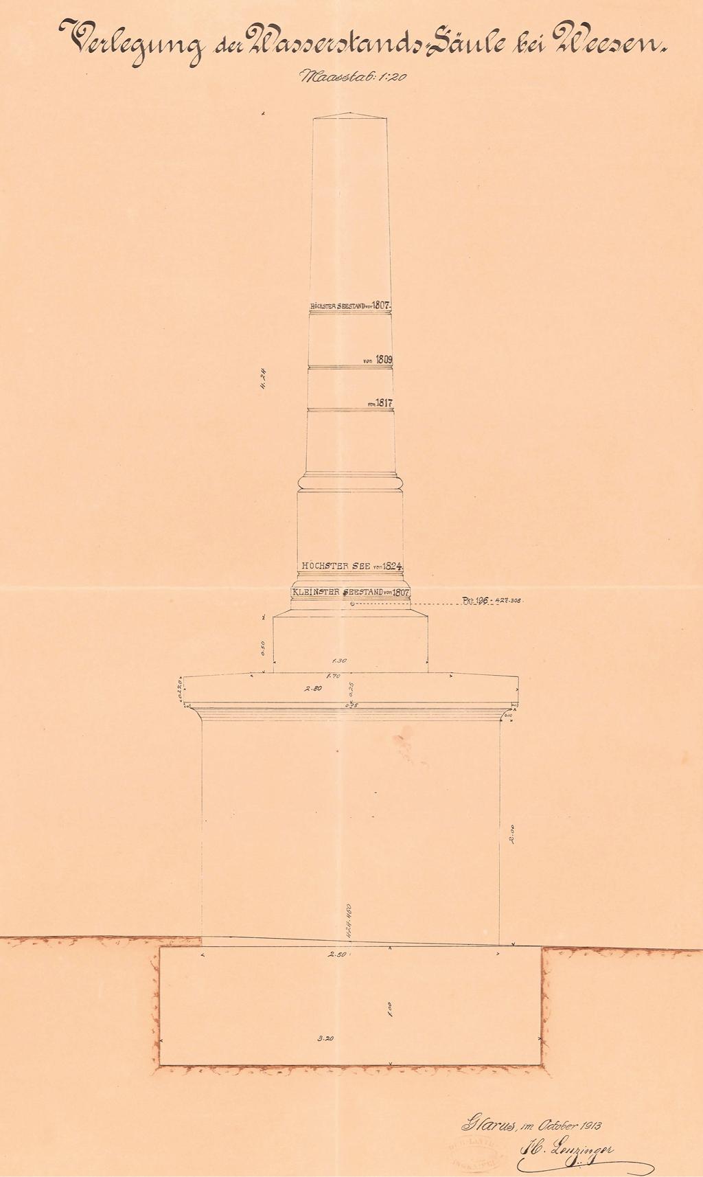 1913_Wasserstandssaeule_Weesen_1913_2